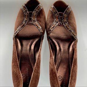 COLE HAAN-Size 10-Suede Heels W/  Sequined Peeptop